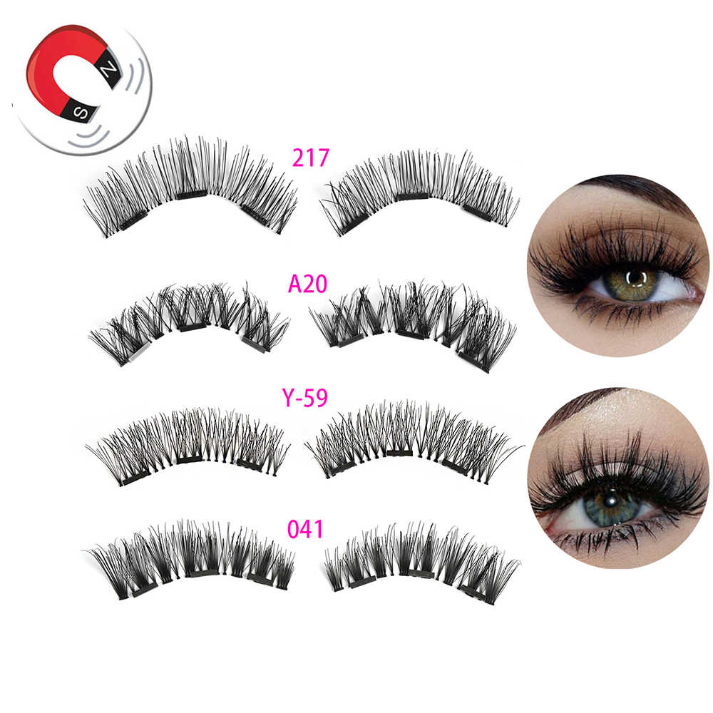 02905a9bd8c 1 Set Makeup Triple Magnetic False Eyelashes Full Coverage Glue-free Lashes  Cross Long Magnet