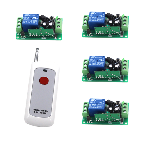 цены  High Quality DC 12V 10A 1 Channel Wireless Control RF 200M Long Range Remote Control 4pcs 315MHz Switch SKU: 5367