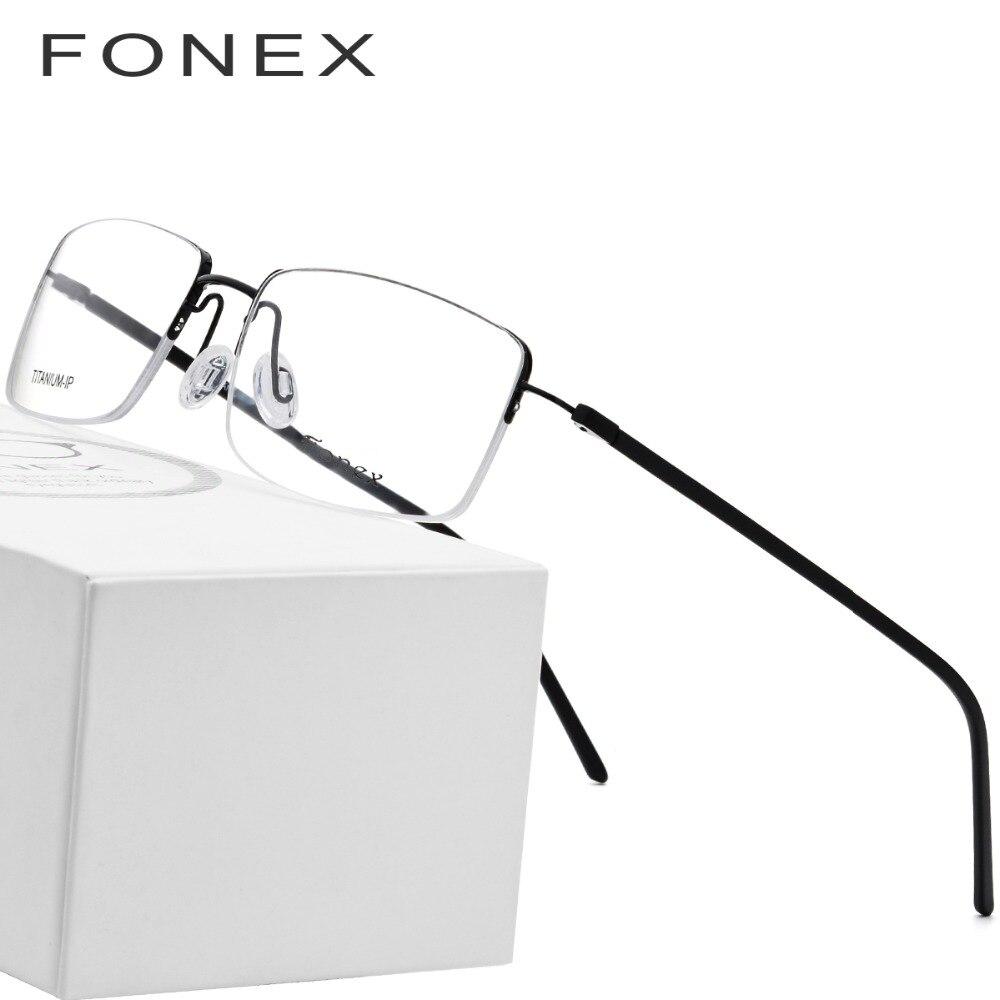 Titanio puro Occhiali Telaio Uomini 2018 di Modo Ultralight Quadrato Donne Del Progettista di Marca di Prescrizione Miopia Montature da vista Occhiali