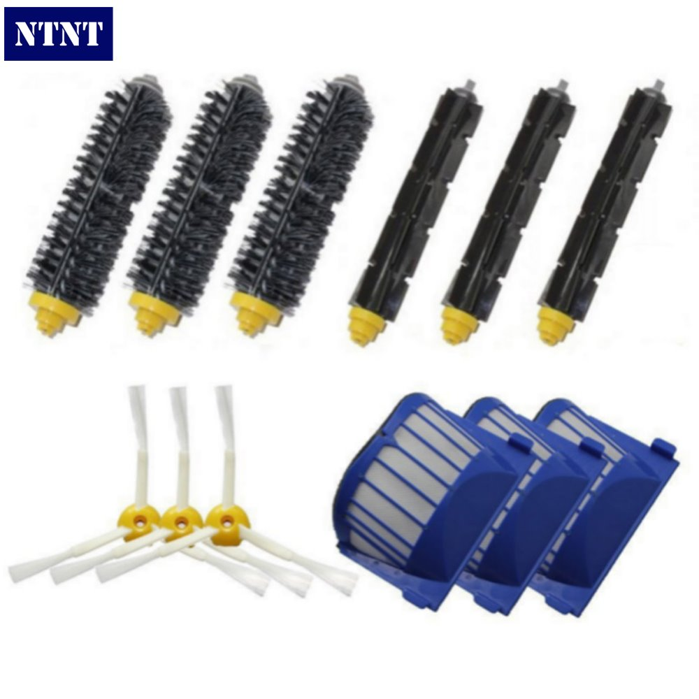 NTNT 3 set Beater Brush+3 Aero Vac Filter+3 side Brush kit For iRobot Roomba 600 Series 595 620 630 650 660 replacement aero vac filter bristle brush flexible beater brush 3 armed side brush tool for irobot roomba 600 series 620 630 650 660