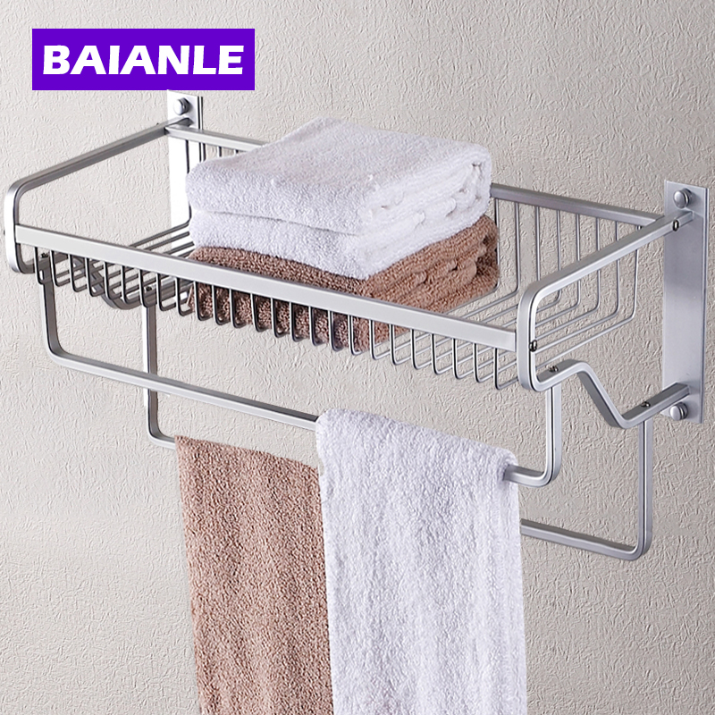 Modern Wall Mount Bathroom Towel Holder Aluminium Bathroom Accessories Shower Shelf Towel Rack with two Towel Bars free shipping two layer bathroom rack space aluminum towel washing shower basket bar shelf