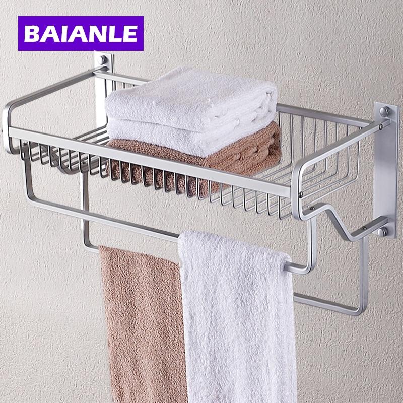 ФОТО Modern Wall Mount Bathroom Towel Holder Aluminium Bathroom Accessories Shower Shelf towel rack with two towel bars