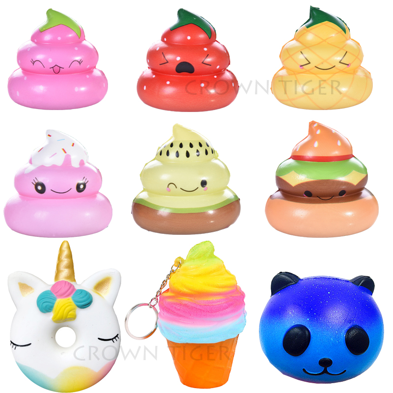 Kawaii Starry Sky Rainbow Shining Crazy Poo Squishy Slow Rising Soft Cream Scented Bread Cake Phone Straps Kid Fun Toy Gift Zjd Novelty & Gag Toys