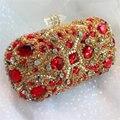 Nueva tachonado jeweled embrague bolso Nupcial de Lujo Diamond Bolsos de Tarde de la Señora embrague de Las Mujeres Bolsos de Fiesta de Cristal de Oro Caliente XA768B