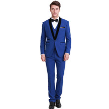 Chic man lapel suit a grain of three-piece fashionable royal blue dress groom suit men's suits formal occasions groomsmen suit