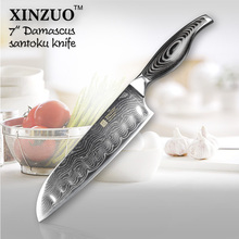 HOT SALE 7 inch chef knife Japanese VG10 Damascus steel kitchen knife santoku knife wholesale forged wooden handle FREE SHIPPING