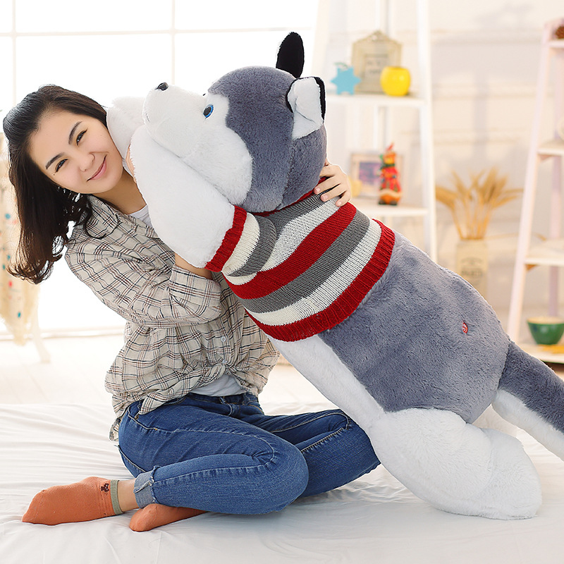 Husky Siberian Plush Toy Stuffed Animal Doll Pillow Cute Figure Gift 170cm (WITHOUT STUFFED) stripes sweater design prone husky largest 165cm gray husky dog plush toy sleeping pillow surprised christmas gift h907