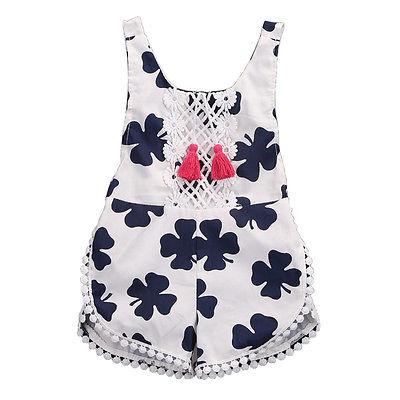 Helen115 Pretty Kid Baby Girl Summer Floral Printed Sleeveless Leak Back Cotton Bodysuit 0-4Years