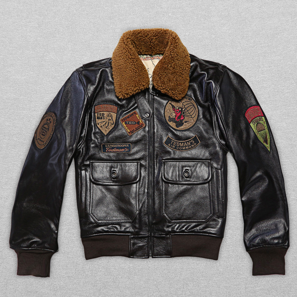 2017 New Men 39 s Pilot Jacket Wool Collar Fat loose large size Male Short Slim Fit Aviator Thick Cowskin Winter Coats in Genuine Leather Coats from Men 39 s Clothing