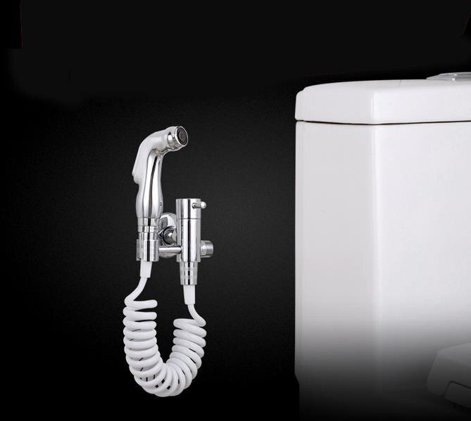 Full Brass Chrome Bidet Mixer Tap Toilet Spray Attachment