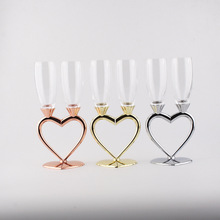 Fashion Double Heart-Shaped Crystal Champagne Set Cup Wedding Gift Party Glass bar Supplies Goblet