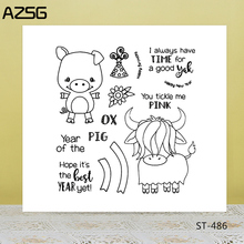 AZSG Cartoon Naive Pig Cattle Clear Stamps/Seals For DIY Scrapbooking/Card Making/Album Decorative Silicone Stamp Crafts