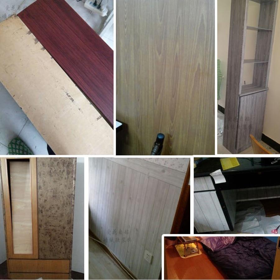 Купить с кэшбэком 5M/10M Self-adhesive Wallpaper Rolls Wardrobe Cupboard Door PVC Imitation Wood Stickers Old Furniture Waterproof Decorative Film