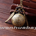 Fashion Mini Antique Retro Vintage Brown Wing Spider Webs Ball Metal Steampunk Quartz Necklace Pendant Chain Small Pocket Watch
