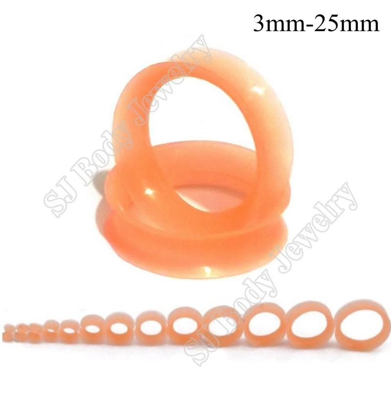 Thin Silicone Ear Skin Ear Tunnels Plugs Gauges Earskin Earlets Flesh Gauge 8
