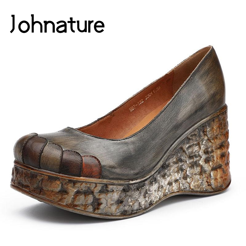 Johnature 2019 New Summer Retro Wedges Casual Shoes Genuine Leather Round Toe Platform Shoes Women Hing