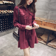 Large Size Women long-sleeved Button Closure Dress Polo Collar Wine Red Above-knee Shirt Dress Female Cute Casual Dress TT422