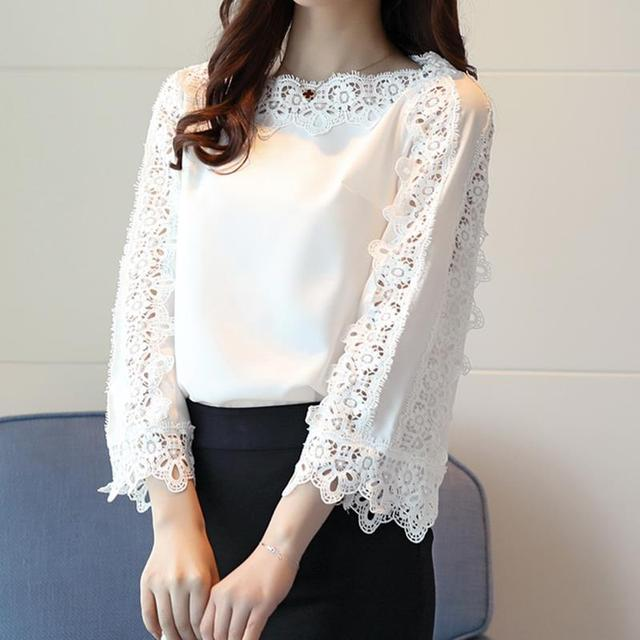 e81bf982167 Lace Floral Blouse Flare Sleeves Office White Tops Spring Summer Women  Elegant Chiffon Blouse Shirt Tops WS6564A