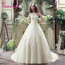 Alexzendra Stock Dresses Light Champagne A Line Lace Wedding Dress Sayang Bridal Gowns Elegan Siap untuk Kapal