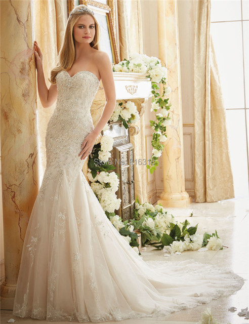 Sweetheart Lace Glitter Wedding Dresses Bling Bridal Gowns China Tulle Dress Mermaid Vestidos De