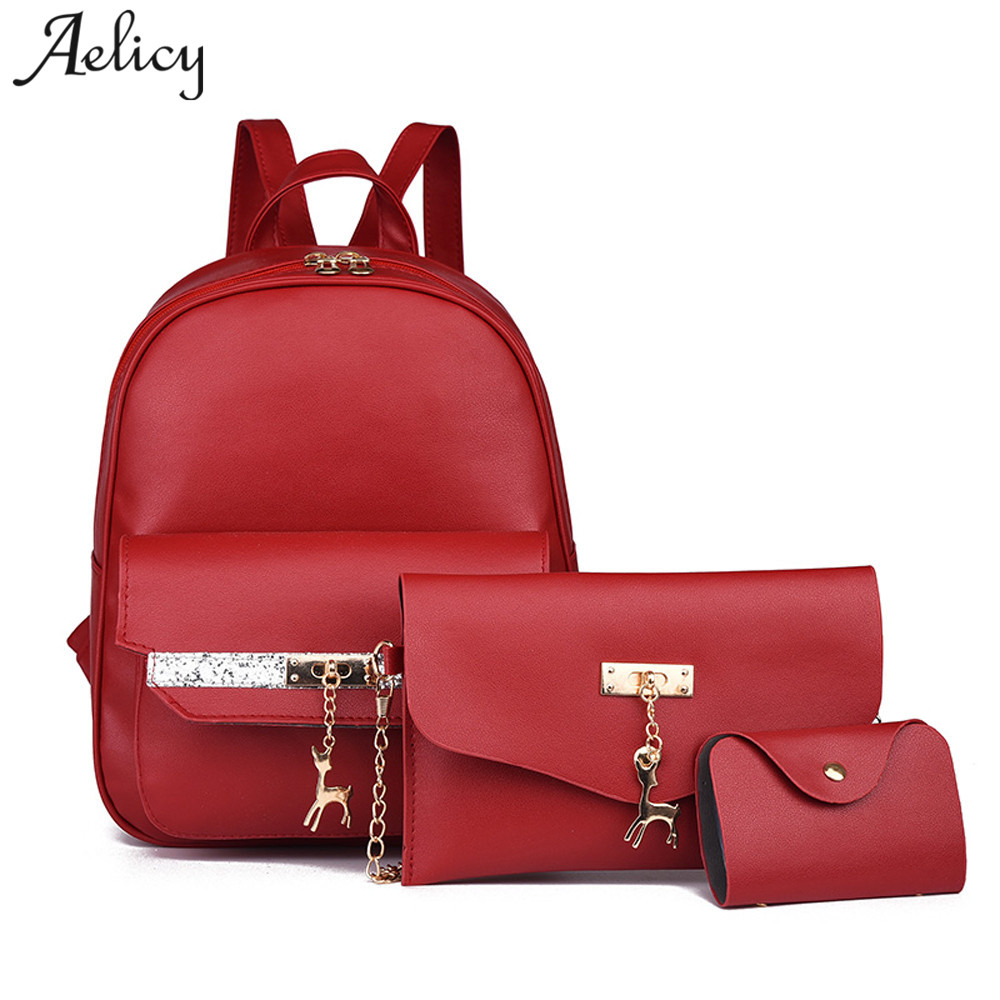 Aelicy 3Pcs Set Small Women Backpacks female School Bags For Teenage Girls  Black PU Leather 853d17e406fa