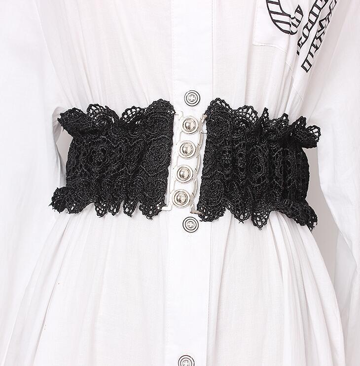 Women's Runway Fashion Elastic Lace Cummerbunds Female Dress Corsets Waistband Belts Decoration Wide Belt R1676
