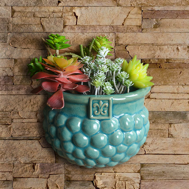 Mediterranean ceramic wall hanging flower pot creative meaty hanging pot home TV background wall bedroom wall decoration pendant(China)