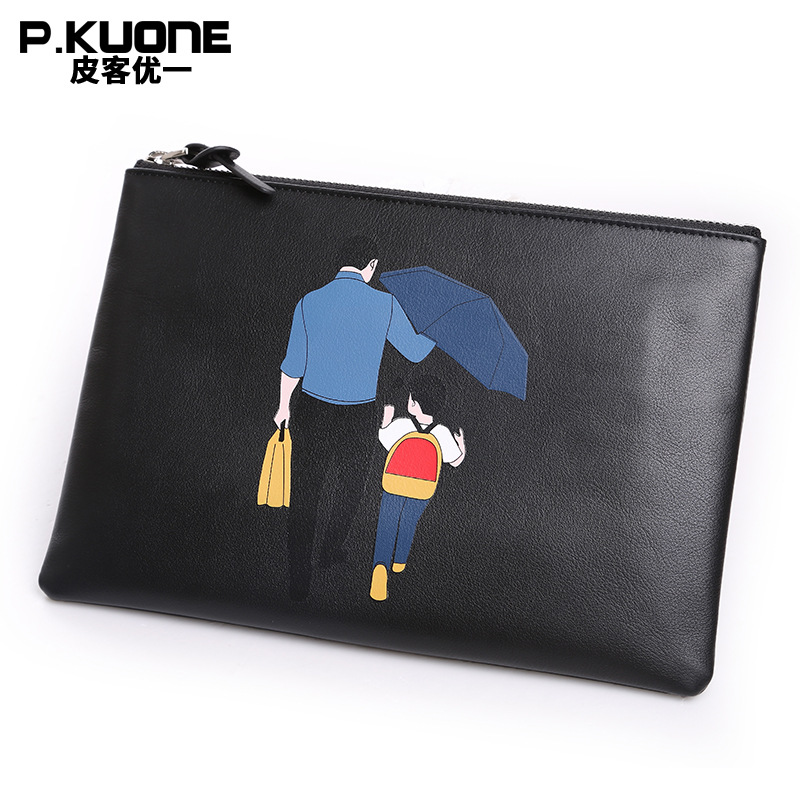 P.KUONE 2018 Men Famous Purse Genuine Leather Clutch Bag New Design Luxury Handbag High Quality Fashion Evening Messenger Bag цена 2017