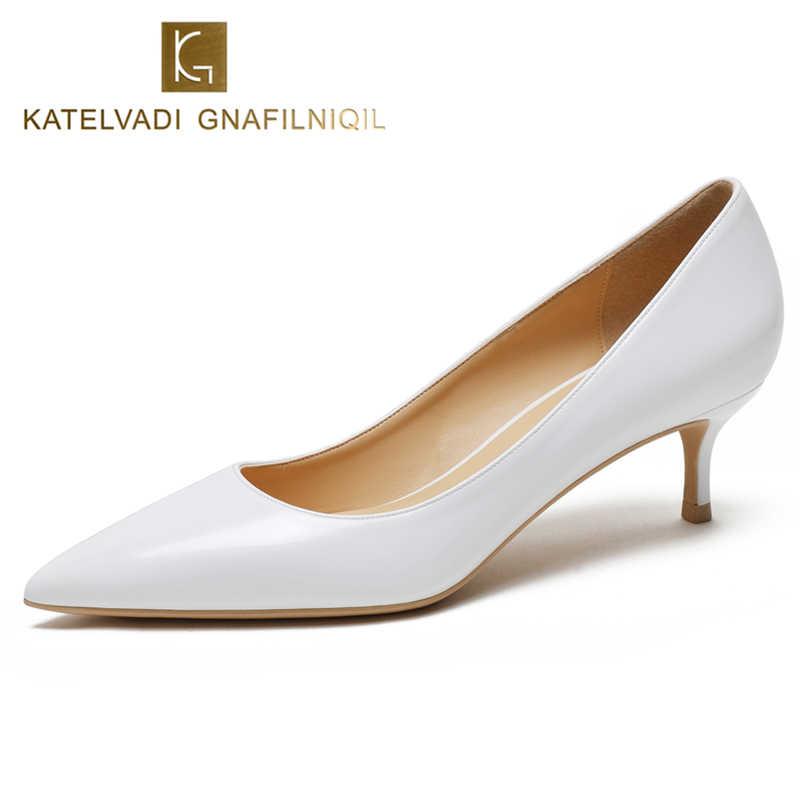 3c1569d2a223 KATELVADI Office Lady Shoes Women Pumps White Patent Leather Fashion Ladies  Pumps 5CM Med Heel Shoes