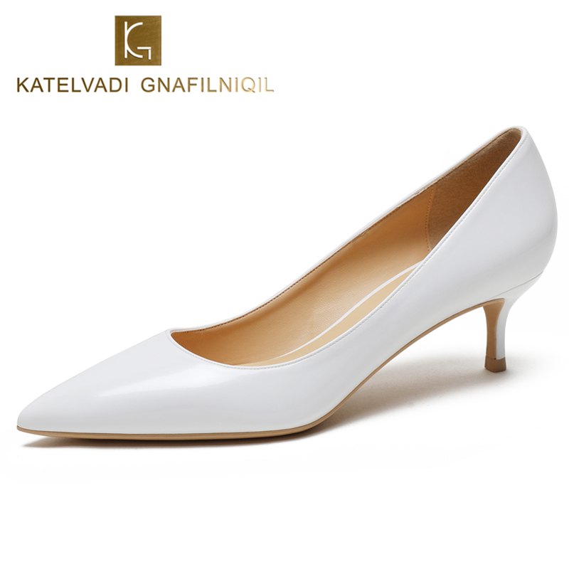 KATELVADI bureau dame chaussures femmes pompes en cuir verni blanc mode dames pompes 5 CM Med talon chaussures pour femmes, K-322