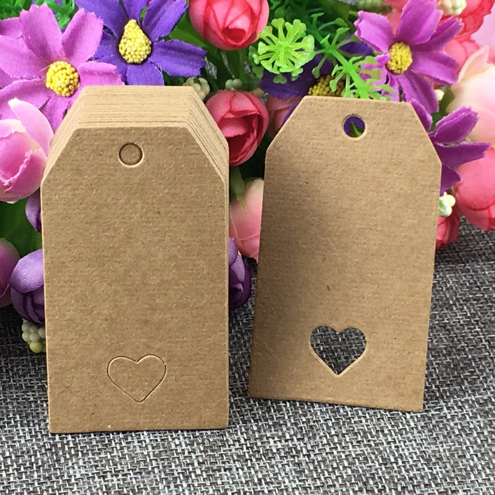 200PCS/Lot Kraft Cardboard Hang Price Tags 7*4cm Cut Corner With Heart Hole Blank Head Card Luggage Label DIY Accept Custom Logo