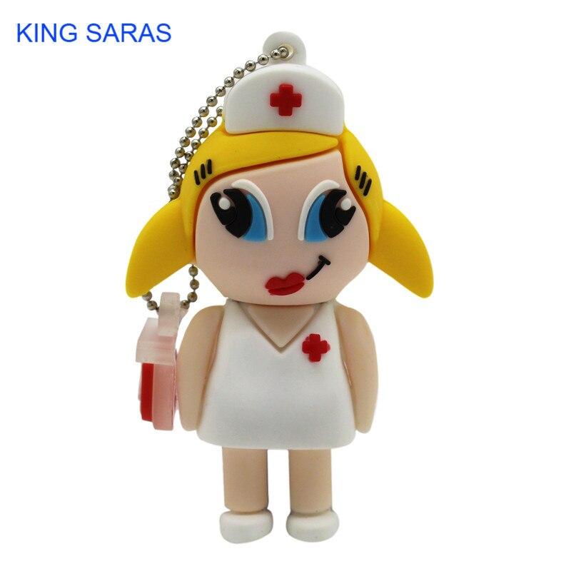 Image 2 - KING SARAS  mew style cartoon nurse model usb2.0 4GB 8GB 16GB 32GB 64GB pen drive USB Flash Drive creative Pendrive-in USB Flash Drives from Computer & Office