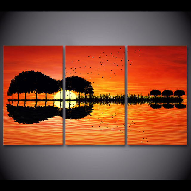 3 Piece Canvas Wall Art HD Printed Guitar Tree Lake Sunset Painting Room  Decor Print Poster