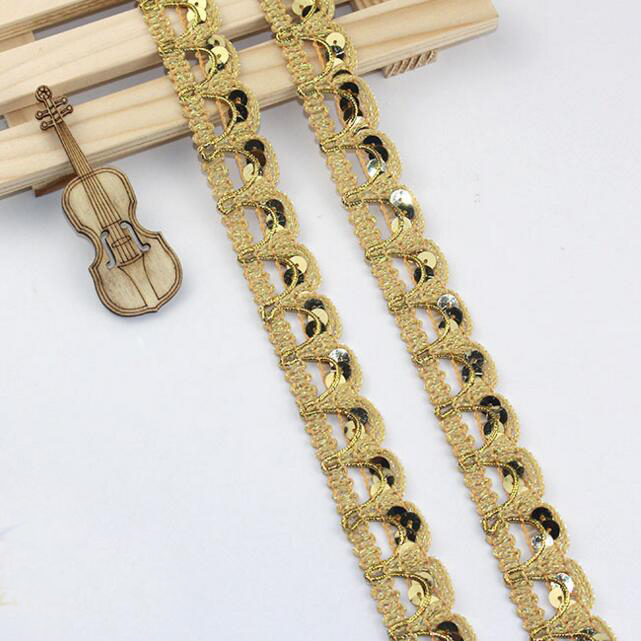20yards Gold Sequined Wave Crochet Braid Ribbon Lace Trims