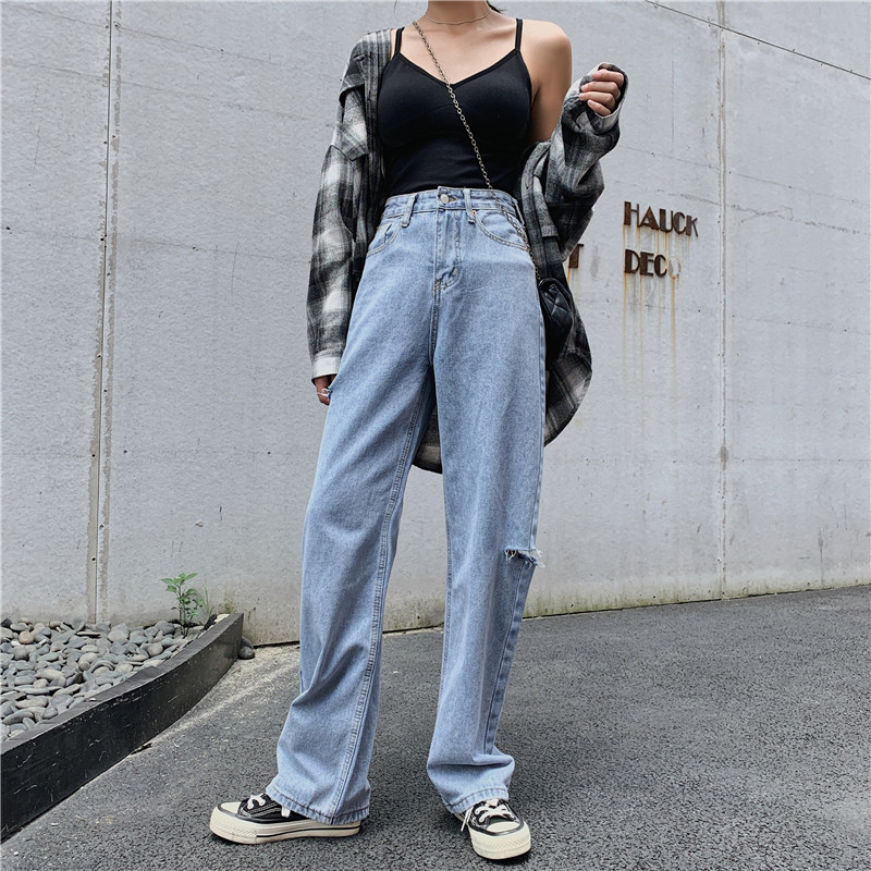 S-XL Autumn Korean Style High Waist Jeans Lady Casual Straight Denim Light Blue Ripped Jeans Womens Mom Jeans Womans (Z8650)