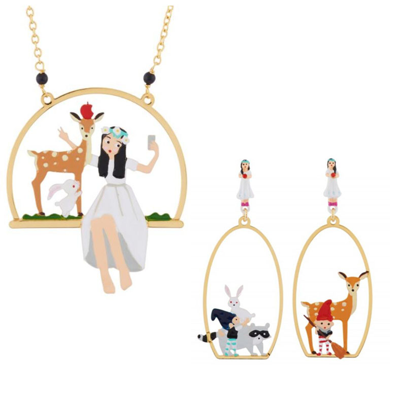Efficient Csxjd Handmade Designer Enamel Snow White Dwarf Wapiti Luxury Earring