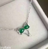 KJJEAXCMY boutique jewels S925 Pure silver natural green jade medulla pendant + necklace inlay curve wildflowers