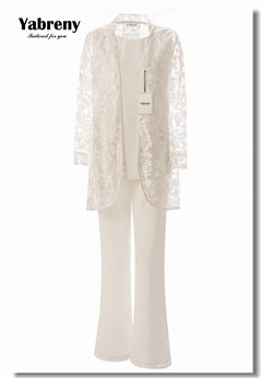 Yabreny Mother of the bride pantsuit with lace jacket Ivory 3PC Outfit for Wedding party MT0017009