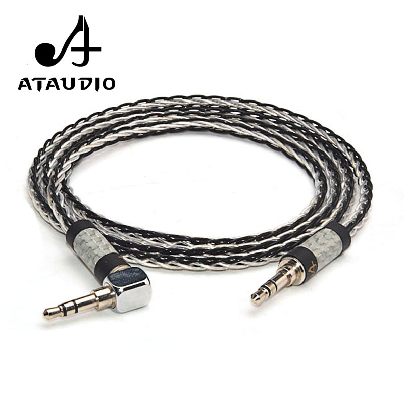 ATAUDIO Hifi 3 5mm Cable Hi end 7N OCC Silver plated 3 5mm Aux Audio Cable