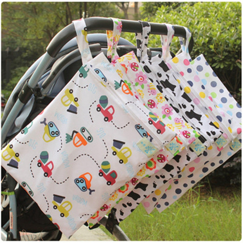 Baby Diaper Bags Printed Zippered Wet/Dry Bag Baby Waterproof Wet Cloth Diaper Bag Reusable Mommy Storage Stroller Accessories