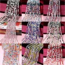 Смешанные цвета, 1 ярд/шт., 17 цветов, стеклянные кристаллы, стразы, цепочка, Серебряное дно, Пришивные цепочки для рукоделия, сумки для одежды, украшения