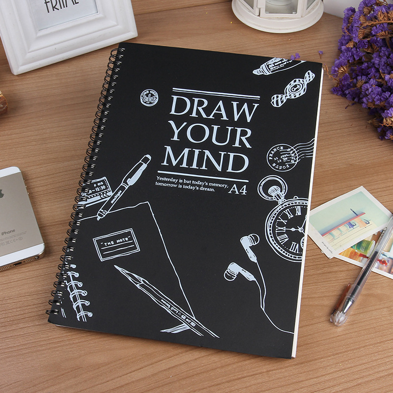 HOT A4 Sketchbook Diary drawing Painting graffiti Skech book paper 59 sheets Spiral Notebook Office School Supplies gift a5 blank sketchbook diary drawing graffiti painting kraft sketch book 80 sheets spiral notebook paper office school supplies