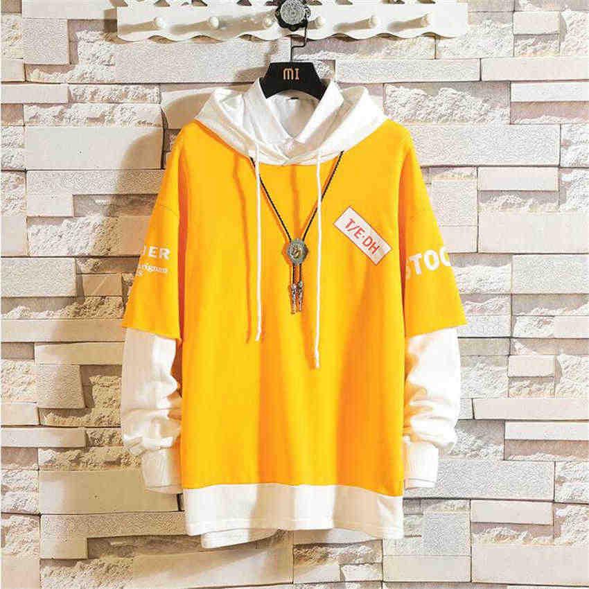 2019 Nieuwe Collectie Harajuku fake twee stukken Hoodies Afdrukken Sweatshirt Hip Hop Streetwear 5XL Plus Size Kleding