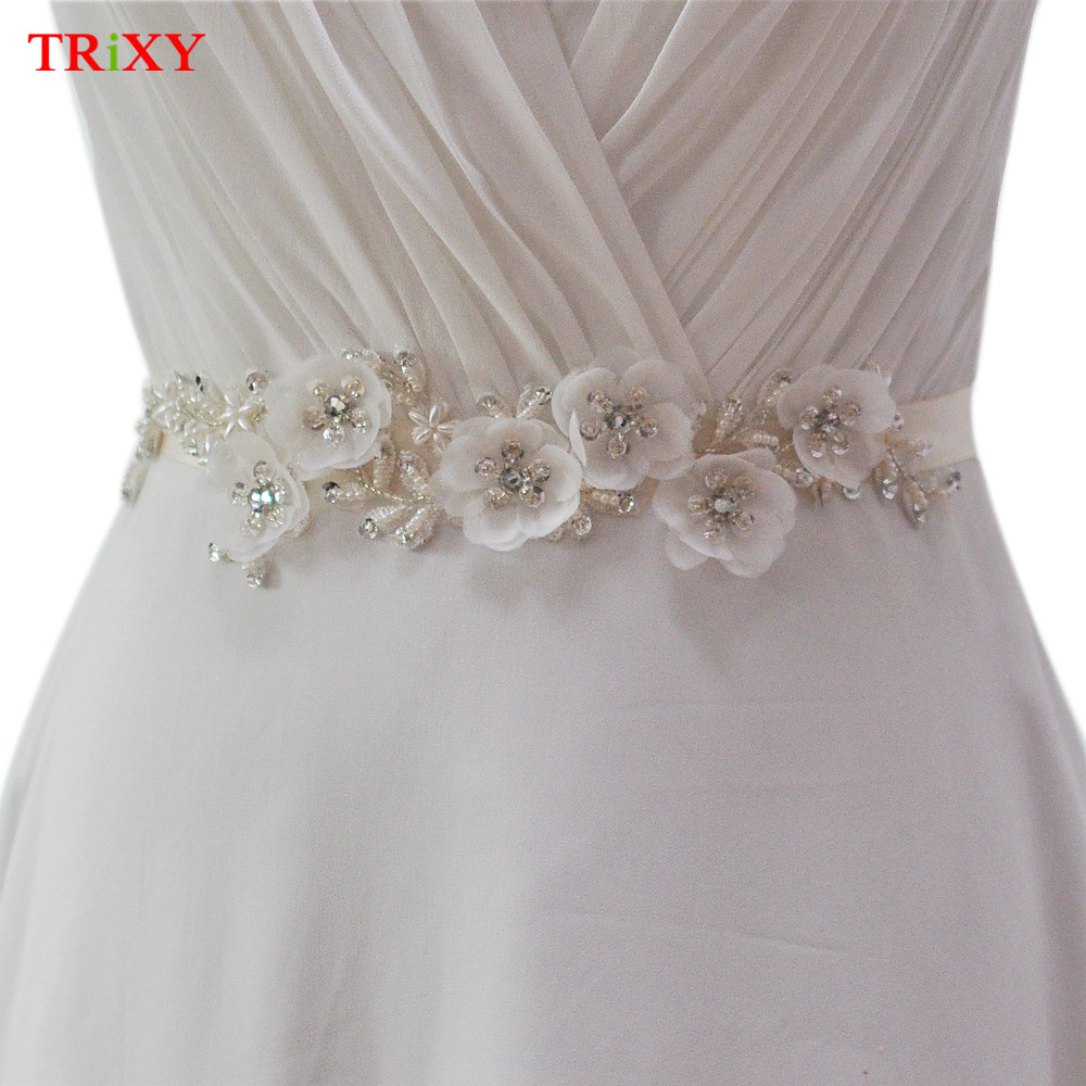 Flower Belts For Wedding Dresses: TRiXY B249 Fabric Flowers Wedding Accessories Wedding
