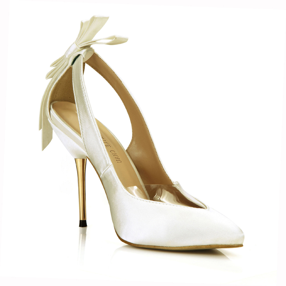 <font><b>Sexy</b></font> Satin Bridal Wedding Pointed Toe Stiletto Bowknot Women Pumps <font><b>Chaussure</b></font> Escarpins Femmes Mariage <font><b>Talon</b></font> <font><b>Haut</b></font> Soiree 3845D-7b image