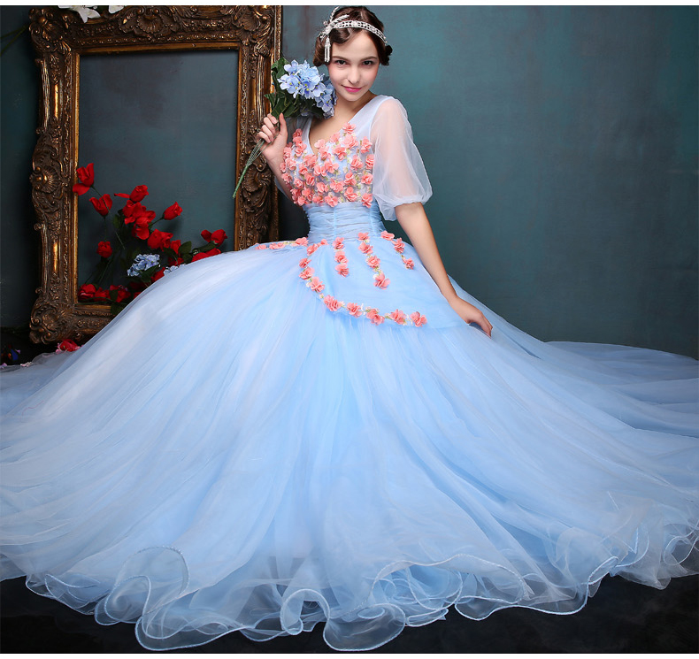 100%real light blue flower ball gown bubble venice medieval dress Renaissance Gown queen dress Victorian cosplay ball gown Belle