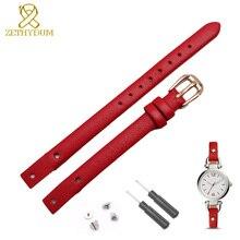 Braccialetto del cuoio genuino della cinghia delle donne di modo cinturino piccola banda 7mm 8mm per fossil ES4340 ES4119 ES4000 watch band con vite