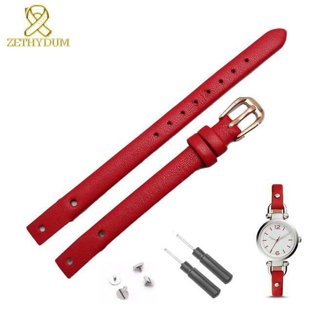 Bracelet montre en cuir véritable pour femme, petit bracelet à la mode, 7mm, 8mm, avec vis, pour fossil ES4340, ES4119, ES4000, bracelet de montre