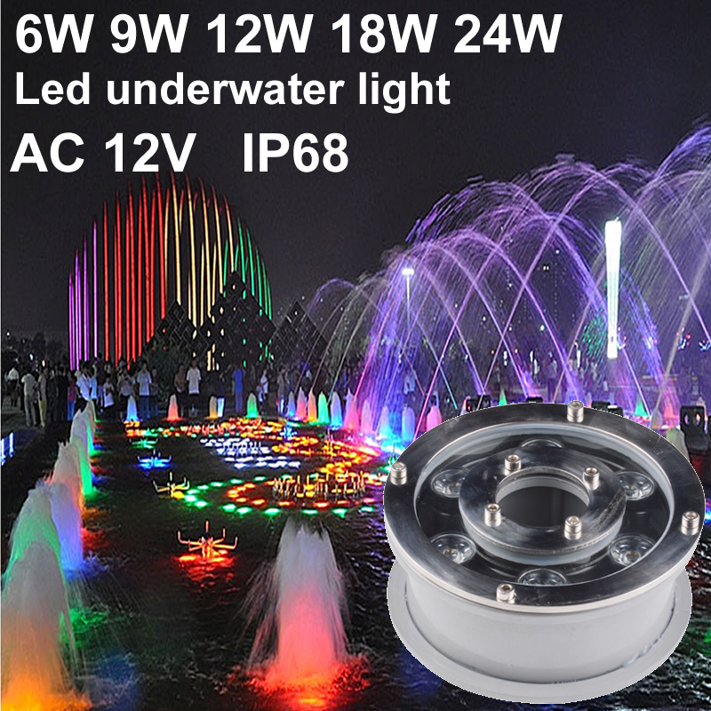 IP68 RGB Led Underwater Light Led Pool Light 6W 9W 12W 18W 12V Spot Led Fountain Lights Swimming Pool Lamp Green Red Blue Yellow