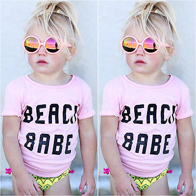 2017 Letter Baby T-Shirt Summer Newborn Baby Girls Toddler beach babe Letter Short Sleeve T-shirt Top Tee Outfits Clothes